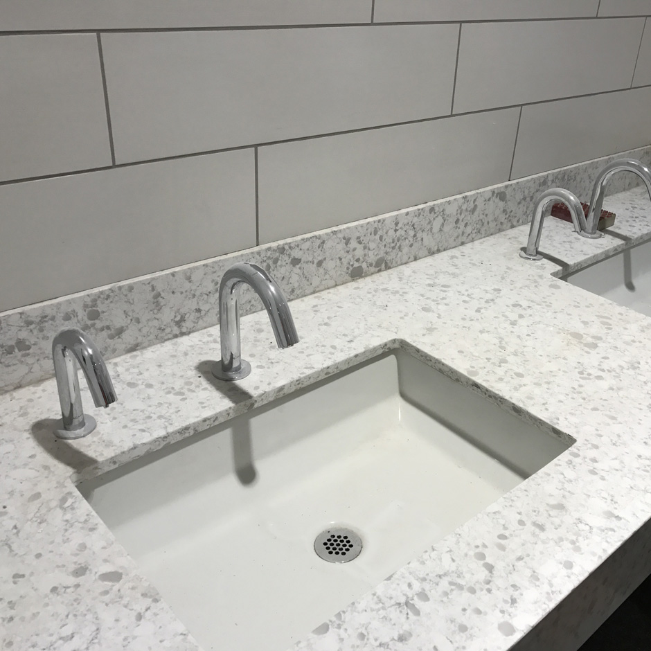 Atlanta Soccer Field Training. Cube sink and Zoom faucet EX11, and soap dispenser EX13.