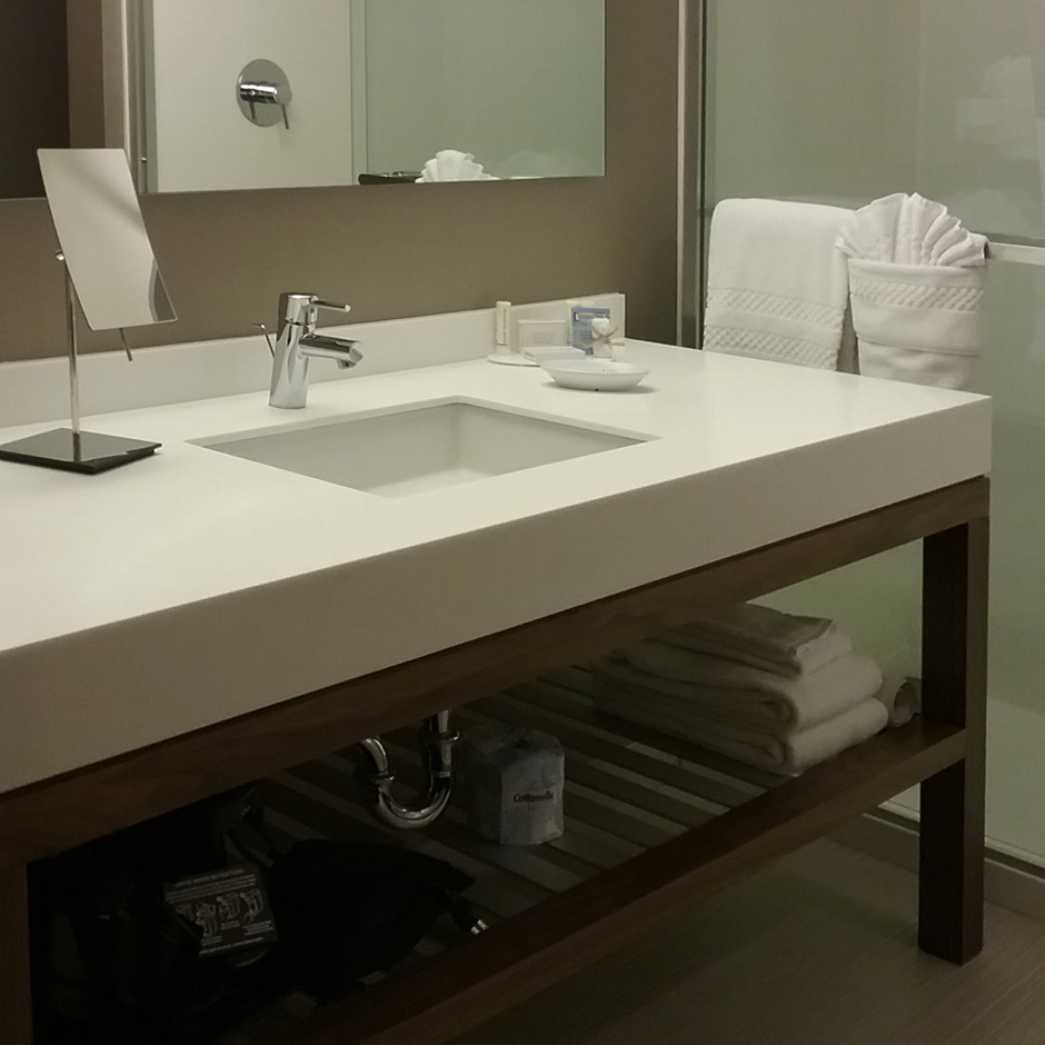 Hotel in CA, Courtyard in Palo Alto. Custom vanity and Cube sink and MEGA magnifying mirror SP7507.